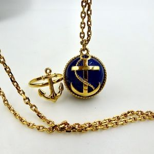 J CREW Nautical Anchor Necklace & Ring